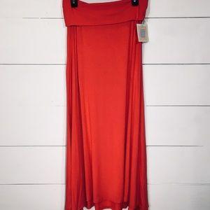 LULAROE Red Pink Maxi Skirt SMALL NEW NWT